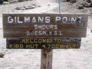 Welcome sign at Kibo Hut