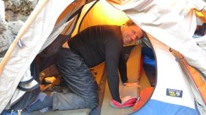 Greg showing off his camping skills