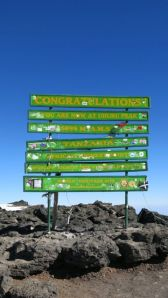 The new summit sign on Kili