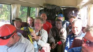"On the bus - Bush enjoying a Kilimanjaro"" frosty"