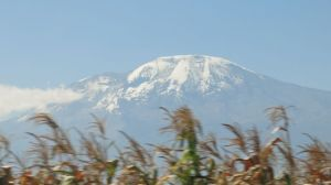 View of Kili from bus on way to airport